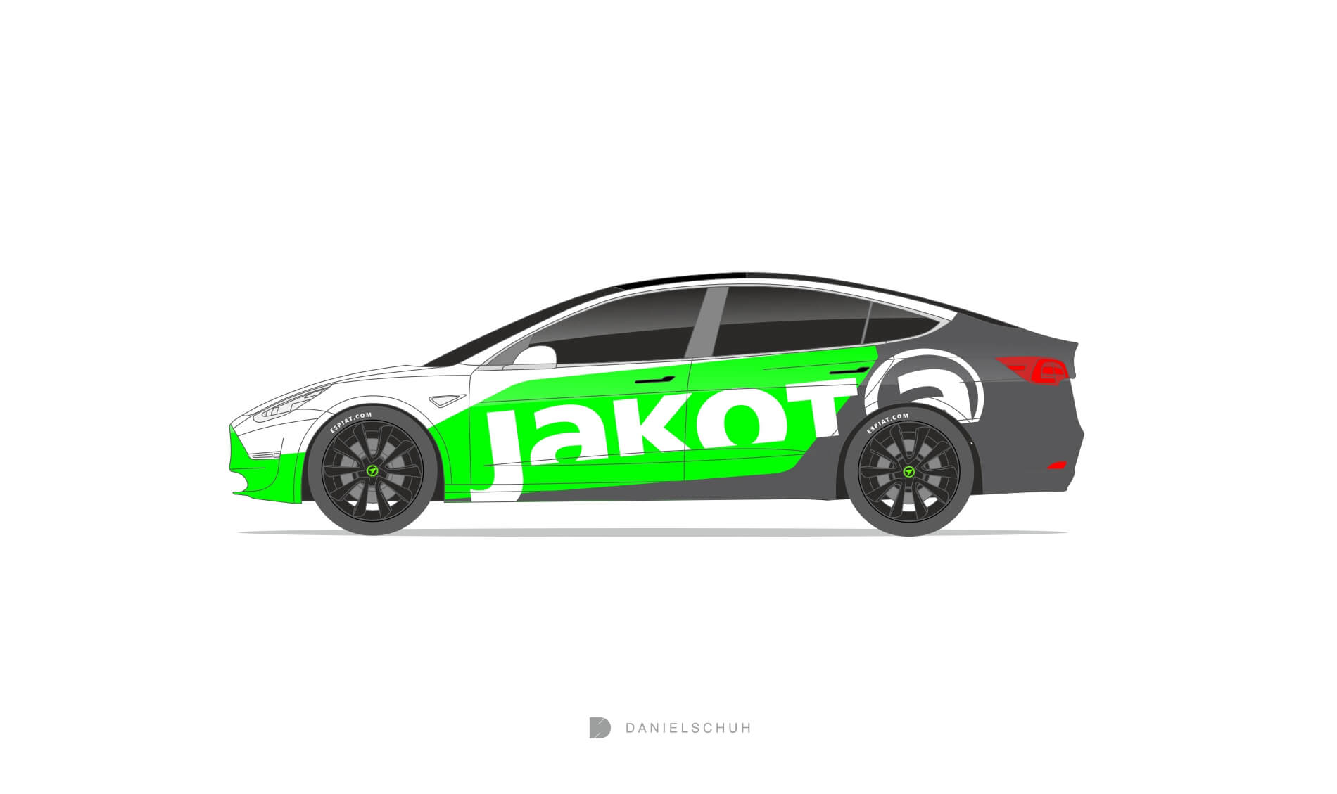 Tesla-model-3-design-folierung-green-grey